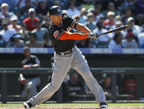 giancarlo stanton swing miami marlins giancarlo stanton gets 537 000 in final