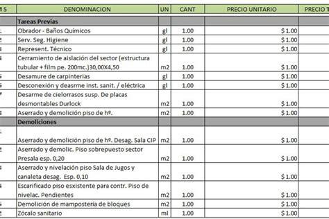 020 ejemplo de presupuesto mano de obra materiales y planilla de excel para presupuesto de obra planillaexcel com