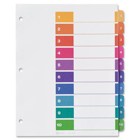 table of contents color template for avery dividers book