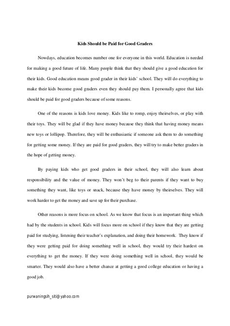 Should Students Get Paid For Grades Persuasive Essay by Essay Argumentative Should Be Paid For Graders