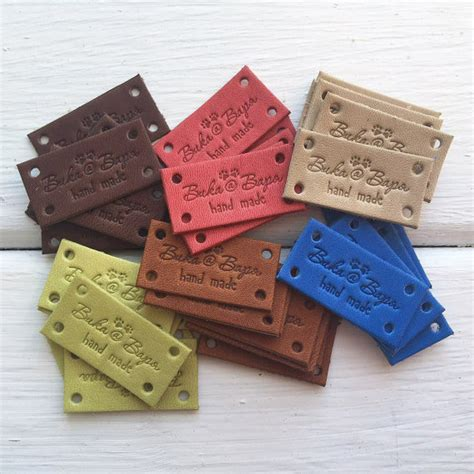 Tags For Handmade Crochet Items - leather labels custom leather labels personalized leather