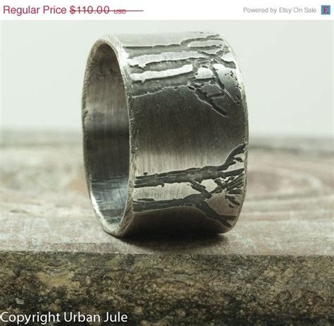 sale mens wedding band tree ring sterling silver ring