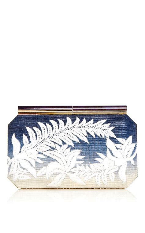 Oscar De La Renta Wicker Clutch by Blue Saya Raffia Clutch With Floral Embroidery By Oscar De