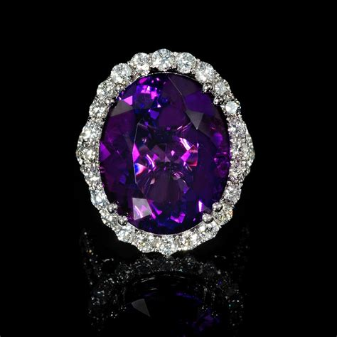 1 76ct and purple amethyst 18k white gold ring