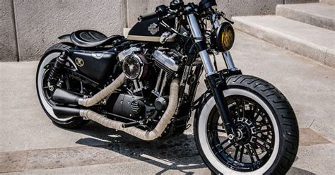 by brock cardiner harley forty eight custom motorcycle by rough crafts custom sportster forty eight bobber from aftercycles in