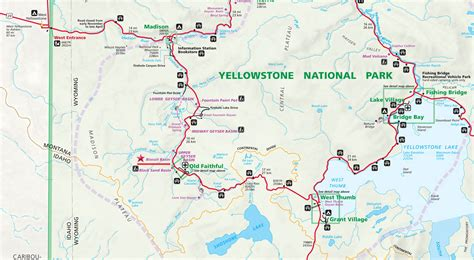 map of yellowstone park yellowstone national park volcano map images