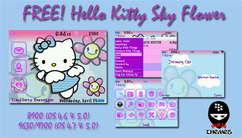themes blackberry hello kitty free hello kitty sky flower theme for the 8900 9600 9700