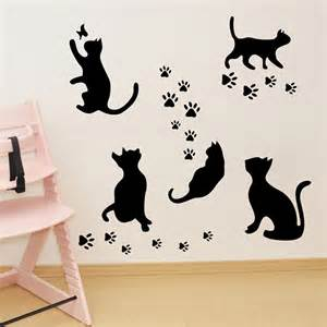 real black cat wall stickers home decor living room diy art mural and white for jbl