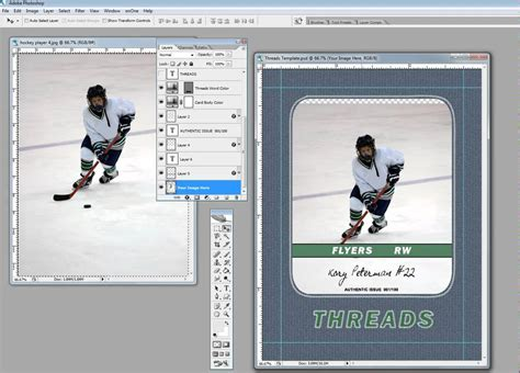 hockey card template photoshop free inserting your picture into a custom trading card template