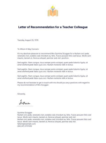 letter recommendation teacher colleague