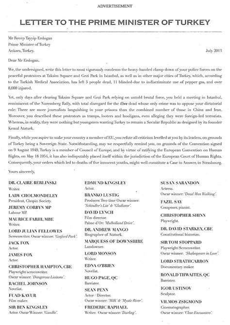 exle of formal letter to prime minister a letter to the prime minister of turkey in a full page