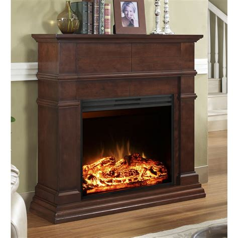 Fireplace Accessories Lowes by Style Selections 44 In Mahogany Flat Wall Electric