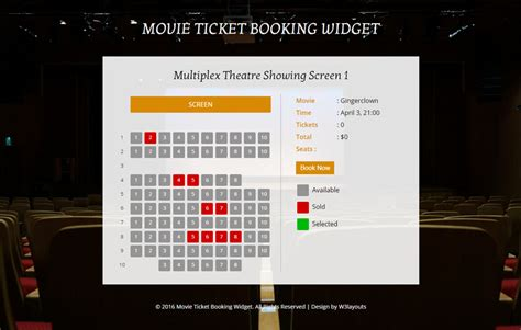 movie ticket booking widget flat responsive widget template