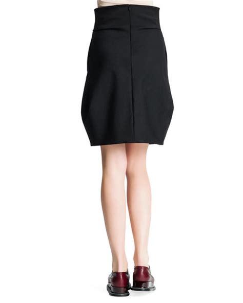 draped tulip skirt jil sander side draped wide banded tulip skirt black