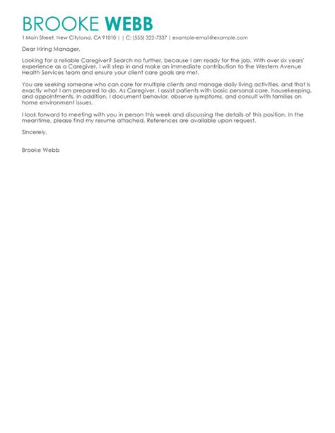 caregiver cover letter best caregiver cover letter exles livecareer