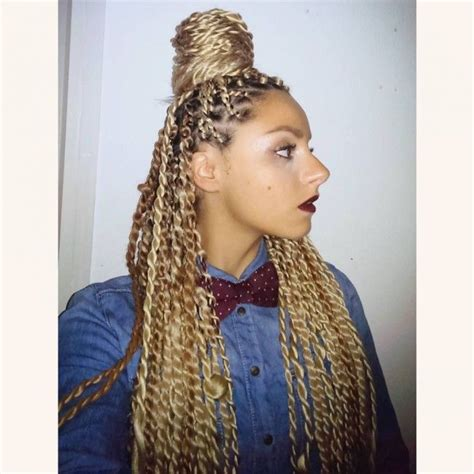 best hair for blonde senegalese twists golden blonde top knot hairstyles pinterest golden