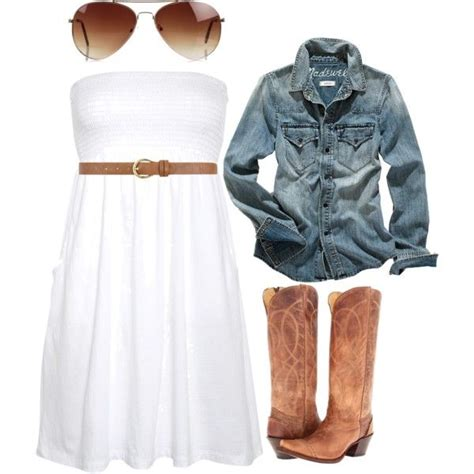 jean dress with boots quot white dress w boots and jean jacket quot by