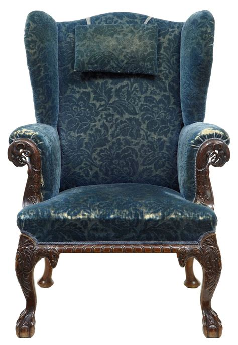 carved armchair early victorian carved mahogany wingback armchair at 1stdibs
