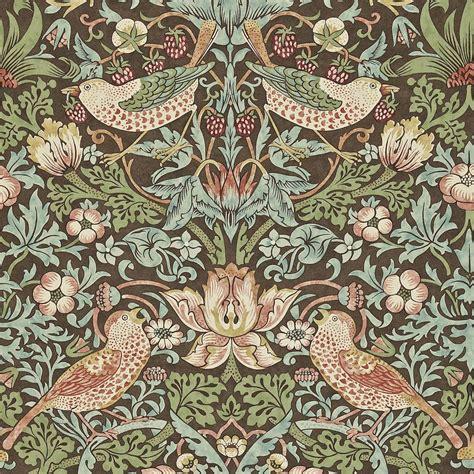 Lorient Decor Curtain Fabric Strawberry Thief Wallpaper Chocolate Slate 212565
