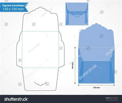 square envelope layout template original flap stock vector