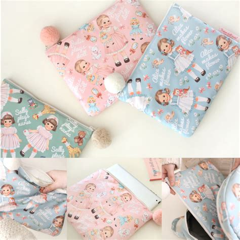 Doll Mate Cosmetic Pouch afrocat paper doll mate pom pom pouch make up cosmetic