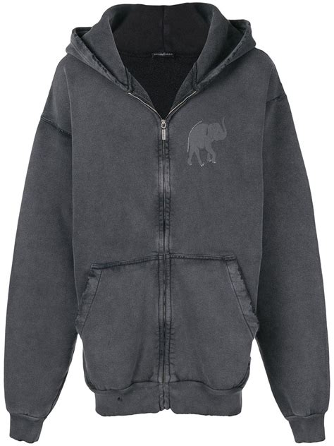 balenciaga elephant zip up hoodie black modesens