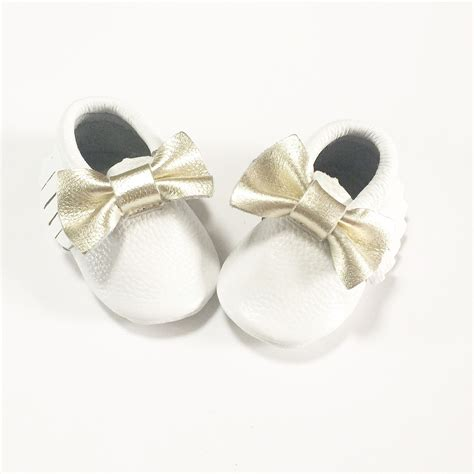 Bow Moccasins conker white gold bow moccasins simple soft