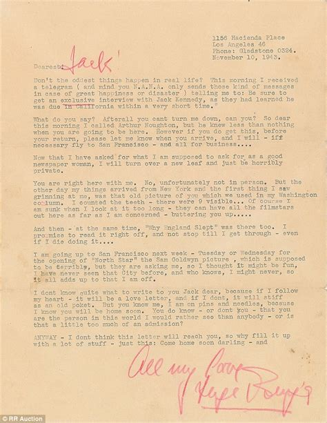 letters for him after up f kennedy letters up for auction daily mail