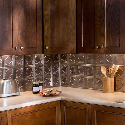 fasade kitchen backsplash panels fasade 24 in x 18 in traditional 4 pvc decorative backsplash panel in brushed nickel b51 29