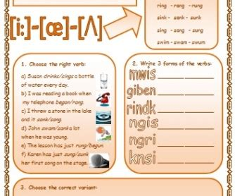 verb pattern choose irregular verbs patterns of formation 3 with exercises