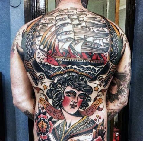 old school tattoo full body 60 vintage tattoos for men old school design ideas