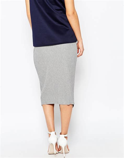 asos wrap midi pencil skirt in rib in gray lyst