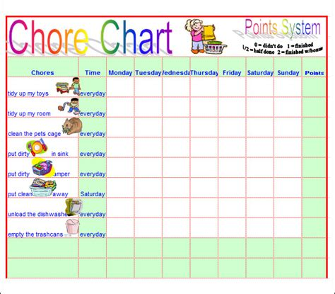 5 Best Images Of Free Printable Blank Work Duty Chart Templates Daily Task List Template Teen Preschool Chore Chart Template