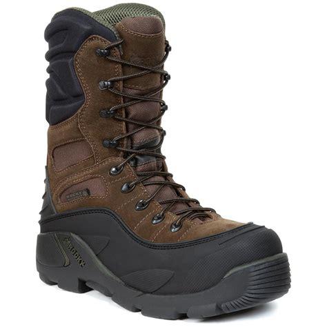 mens steel toe winter work boots rocky 174 blizzard stalker 1 200 gram thinsulate ultra