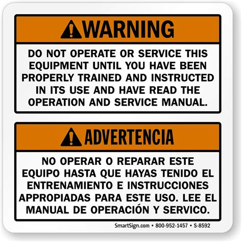 bilingual do not operate equipment until trained label