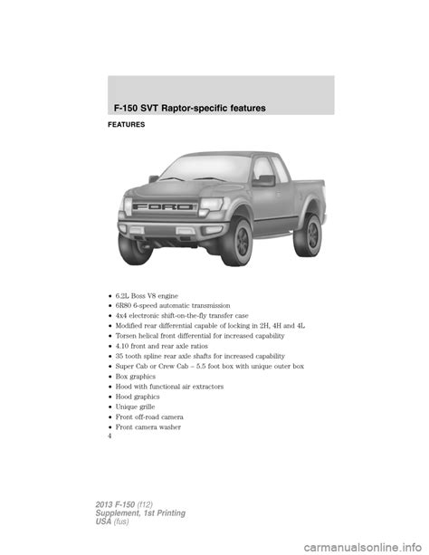 Suplemen Raptor ford f150 2013 12 g raptor supplement manual