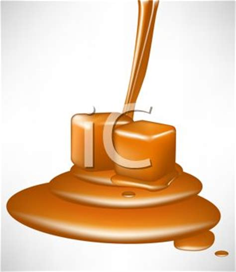 picture of a pouring caramel with caramel pieces in a