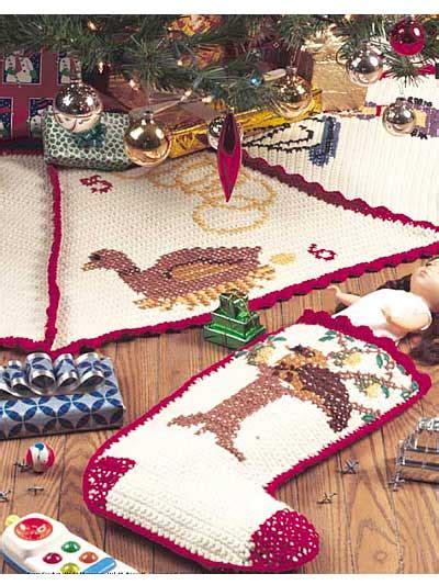 crochet seasonal twelve days of christmas tree skirt
