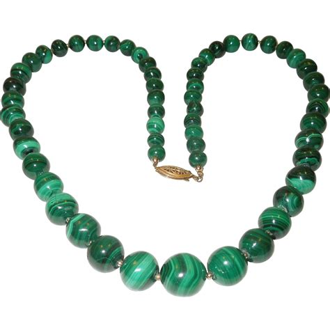 beaded necklace vintage malachite bead necklace from chippewalakeantiques