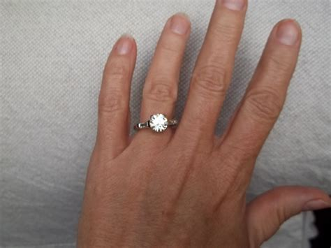 vintage  carat moissanite engagement wedding ring size