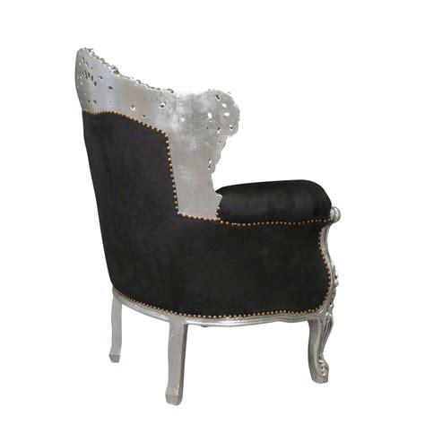 canapé style baroque pas cher fauteuil baroque noir en velours et argent meubles baroques