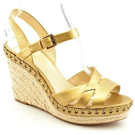 gold leather wedge sandals enzo angiolini greyti gold