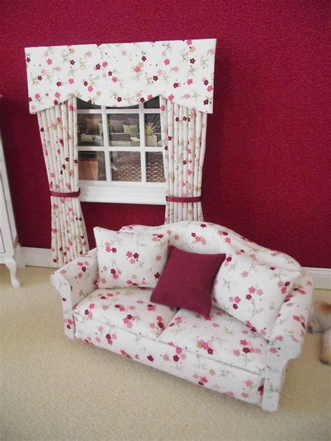 new cushions for sofa miniature dolls house furniture 12th scale floral sofa