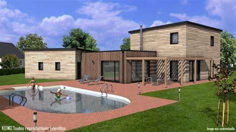 maison avec toit terrasse 2833 plan maison bois etage toit plat