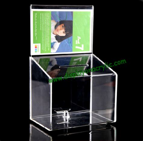 Desk Wall System Donation Container Locked Donation Boxes Acrylic