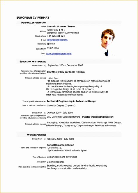 format for curriculum vitae pdf 5 pdf resume format sle free sles exles