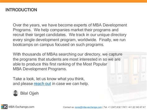 Mba Conversion by Mba Exchange 166 Mba Development Programs Report 2015