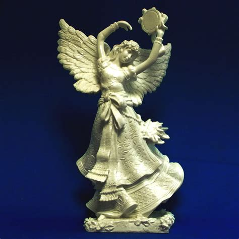 christmas angel with tambourine ivory resin statue large