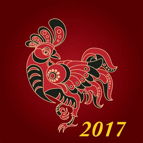 new year 2017 year of the new year 2017 backgroun with rooster vector