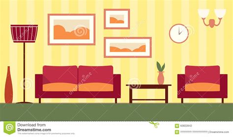 Livingroom Set by Vector Color Interior Of Cartoon Living Room Stock Vector